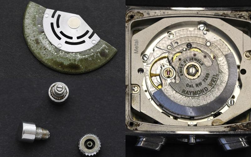 水が入って錆びた時計