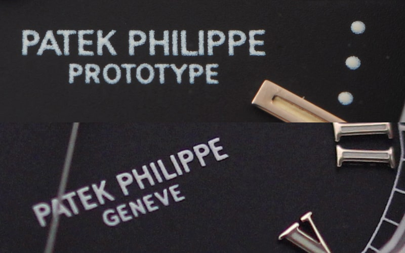 ノーチラスとアクアノートの文字盤レタリング「patekphilippe」